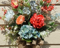 Coral and Blue Door/Wall Bouquet