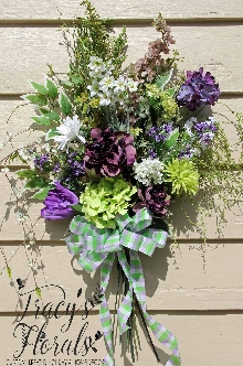 Green and Purple Door/Wall Bouquet