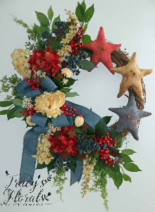 Primitive Red, White, Blue Stars Wreath