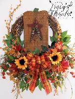 Wood Pumkin Wreath
