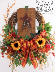 Wood Pumkin Wreath