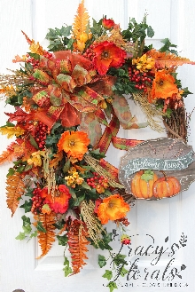 Welcome Friends Pumpkin Wreath