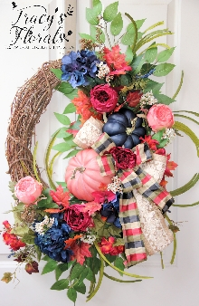 Navy and Rose Autumn Wreath