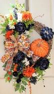 Navy and Orange Harvest Wreath