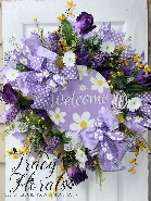 Welcome Daisy Wreath Purple