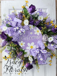 Welcome Daisy Wreath Purple