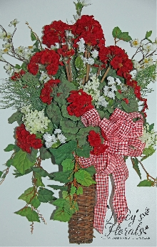 Red Geranium Wall Basket
